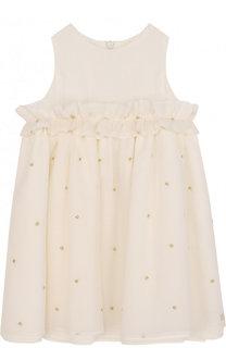 Платье из хлопка и шелка с рюшами и металлизированной вышивкой Tartine Et Chocolat