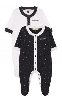 Хлопковый комплект из двух пижам и сумки Armani Junior