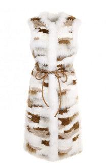 Жилет из меха кролика и меха песца с поясом Yves Salomon