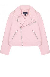 Укороченная кожаная куртка с косой молнией Polo Ralph Lauren