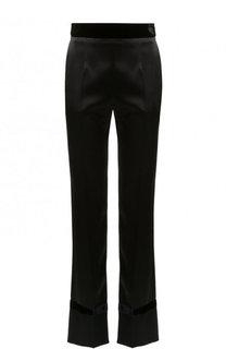 Укороченные однотонные брюки с бархатным поясом Lanvin