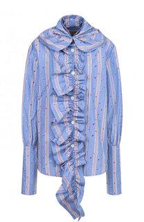 Хлопковая блуза свободного кроя с драпировкой Marni