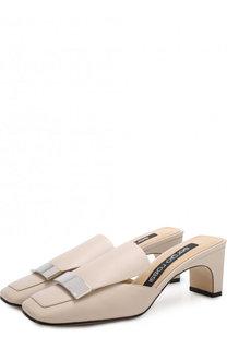 Кожаные мюли на устойчивом каблуке Sergio Rossi