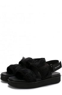 Замшевые сандалии с отделкой пером Vic Matie