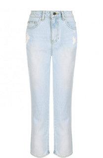 Укороченные джинсы с потертостями и завышенной талией Steve J & Yoni P