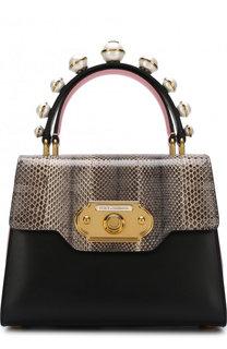 Сумка Welcome с отделкой из кожи змеи и меха кролика Dolce & Gabbana