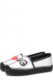 Эспадрильи из металлизированной кожи с логотипом бренда Dolce & Gabbana