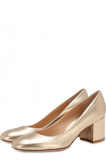 Туфли Gilda из металлизированной кожи на устойчивом каблуке Gianvito Rossi