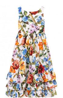 Хлопковое платье с принтом и оборками Dolce & Gabbana