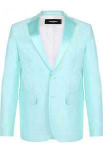 Однобортный вечерний пиджак из смеси хлопка и шелка Dsquared2