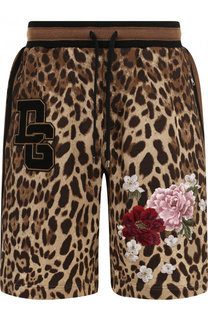 Хлопковые шорты с анималистичным принтом и вышивкой Dolce & Gabbana