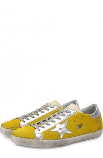 Кожаные кеды на шнуровке с меховой отделкой Golden Goose Deluxe Brand