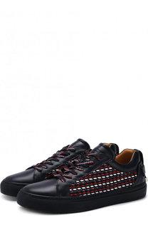 Кожаные кеды на шнуровке с отделкой Buscemi