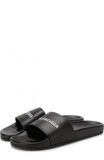 Кожаные шлепанцы с логотипом бренда Balenciaga