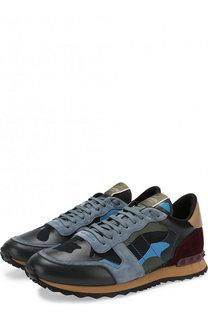 Комбинированные кроссовки Valentino Garavani Rockrunner с замшевой отделкой Valentino