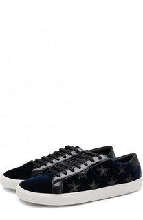 Текстильные кеды Court Classic на шнуровке с аппликациями Saint Laurent