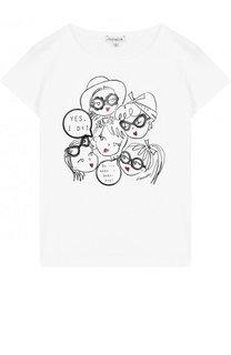Хлопковая футболка с принтом и стразами Simonetta