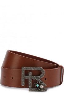 Кожаный ремень с фигурной пряжкой Ralph Lauren