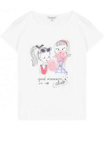 Хлопковая футболка с принтом и пайетками Simonetta