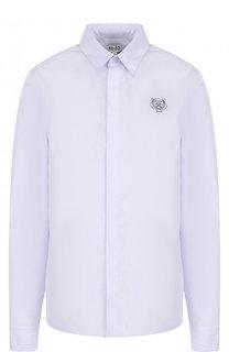 Хлопковая блуза прямого кроя с логотипом бренда Kenzo