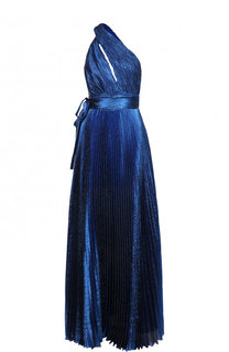 Шелковое плиссированное платье-макси с открытым плечом Elie Saab