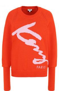 Вязаный хлопковый пуловер с логотипом бренда Kenzo