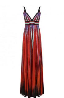 Приталенное платье-миди с открытой спиной Elie Saab