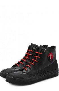 Высокие кожаные кеды на шнуровке с молнией Alexander McQueen