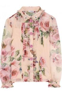 Шелковая блуза с принтом и оборками Dolce & Gabbana