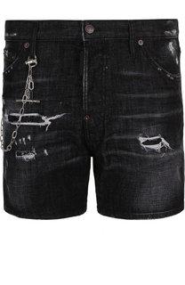 Джинсовые шорты с потертостями и цепью Dsquared2