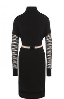 Приталенное мини-платье с перфорированными рукавами By Malene Birger