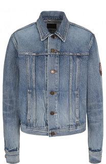Джинсовая куртка свободного кроя с потертостями Saint Laurent
