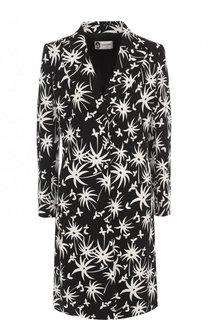 Приталенное пальто из вискозы с контрастным принтом Lanvin