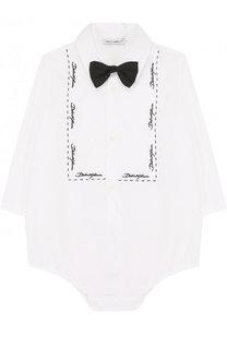 Хлопковое боди с вышивкой и галстуком-бабочкой Dolce & Gabbana