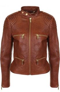 Приталенная кожаная куртка с воротником-стойкой MICHAEL Michael Kors