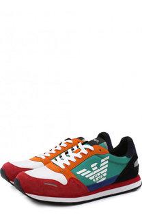 Комбинированные кроссовки на шнуровке Emporio Armani