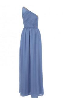 Шелковое платье-макси с драпировкой и открытым плечом Lanvin
