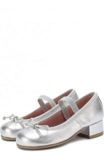 Туфли из металлизированной кожи с бантами и перемычкой Pretty Ballerinas
