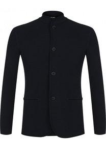 Однобортный пиджак из вискозы с воротником-стойкой Giorgio Armani