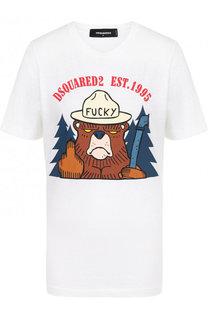Хлопковая футболка с принтом и круглым вырезом Dsquared2
