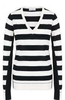Шерстяной пуловер в полоску с V-образным вырезом Sonia Rykiel