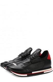 Кожаные кроссовки на шнуровке Artselab
