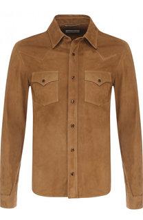 Замшевая рубашка на кнопках с воротником кент Saint Laurent