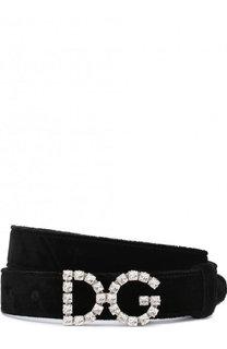 Ремень из смеси вискозы и шелка и фигурной пряжкой с кристаллами Dolce & Gabbana
