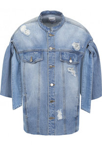 Джинсовая куртка свободного кроя с потертостями Steve J & Yoni P