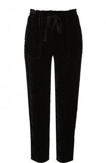 Укороченные бархатные брюки прямого кроя Raquel Allegra