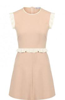 Приталенное мини-платье с контрастными оборками REDVALENTINO