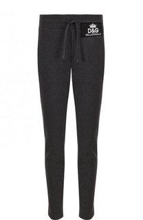 Хлопковые брюки прямого кроя с поясом на кулиске Dolce & Gabbana