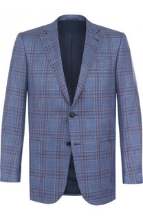 Однобортный пиджак из смеси шерсти и шелка со льном Ermenegildo Zegna