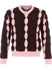 Шерстяной пуловер фактурной вязки Marni